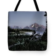 Moonset On Jackson Lake Tote Bag