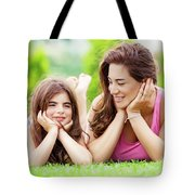 Mother With Daughter Outdoors Tote Bag