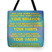Motivational Quotes - Keep Your Words Positive - Ghandi Tote Bag