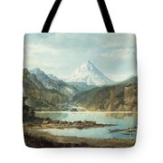 Mountain Landscape With Indians Tote Bag