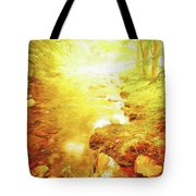 Mountain Stream In Summer Mist Tote Bag