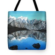 Mountains Landscape Acrylic Painting Tote Bag