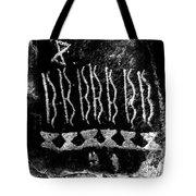 Native American Petroglyph On Sandstone Black And White Tote Bag