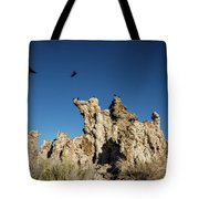 Natural Rock Formation And Wild Birds At Mono Lake, Eastern Sier Tote Bag