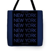 New York - Blue On Black Background Tote Bag