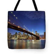 New York City Skyline By Night Tote Bag