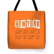New York Coordinates Tote Bag