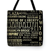 New York Famous Landmarks Silver Tote Bag