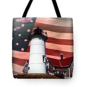 Nobska Lighthouse On American Flag Tote Bag