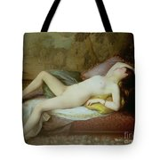 Nude Lying On A Chaise Longue Tote Bag by Gustave-Henri-Eugene Delhumeau