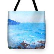 Ocean Coastline Watercolor Tote Bag