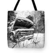 Old Abandoned Pickup Truck In The Snow Tote Bag