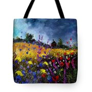 Old Chapel And Flowers Tote Bag