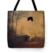 Lone Crow Flies Over The Old Country Road  Tote Bag