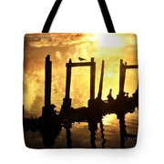 Old Pier At Sunset Tote Bag
