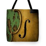 Old Violin Against Green Wall Tote Bag