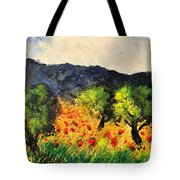 Olive Trees And Poppies  Tote Bag