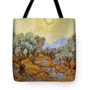 Olive Trees With Yellow Sky And Sun Tote Bag
