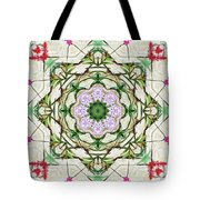 Orchids And Stone Wall Kaleidoscope 1764 Tote Bag