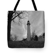 Overcast Lighthouse Tote Bag