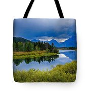 Oxbow Bend Storm Clouds Tote Bag