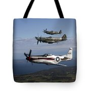 P-51 Cavalier Mustang With Supermarine Tote Bag