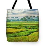 Paddy Rice Panorama Tote Bag by MotHaiBaPhoto Prints