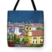 Panoramic Aerial View Of Innsbruck And Hafelekarspitze Mountain Tote Bag