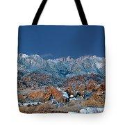 Panoramic Winter Morning Alabama Hills Eastern Sierras California Tote Bag