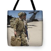 Pararescuemen Walks Away From A Hh-60g Tote Bag