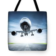 Passenger Airplane Taking Off On Runway Tote Bag