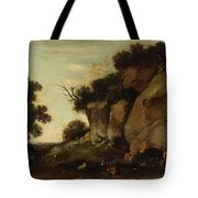 Pastoral Scene At The Cave Tote Bag