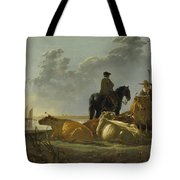 Peasants And Cattle By The River Merwede Tote Bag