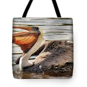 Pelican Catching A Fish Tote Bag