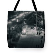 People At Night From Arerial View Tote Bag