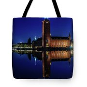 Perfect Stockholm City Hall Blue Hour Reflection Tote Bag