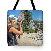 Photographer In Yosemite Waterfalls Tote Bag