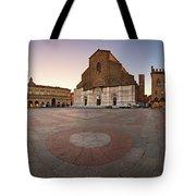Piazza Maggiore And San Petronio Basilica In The Morning, Bologna, Emilia-romanga, Italy Tote Bag