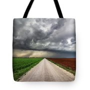 Pick A Side - Colorful Fields Divided By Road On Stormy Day In Oklahoma. Tote Bag