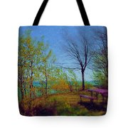 Picnic Table By The Lake Tote Bag