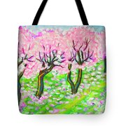 Pink Cherry Garden In Blossom Tote Bag