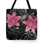 Pink Daylilies With Partially Desaturated Petals And Black And White Background Tote Bag