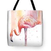 Pink Flamingo Watercolor Rain Tote Bag