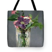 Pinks And Clematis In A Crystal Vase Tote Bag