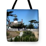 Point Pinos Lighthouse In Pacific Grove, California Tote Bag