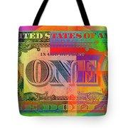Pop-art Colorized One U. S. Dollar Bill Reverse Tote Bag