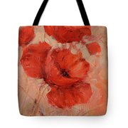 Poppy Flowers Handmade Oil Painting On Canvas Tote Bag
