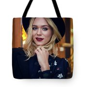 Portrait Of A Girl In Black Clothes And A Hat On The Street In The Evening Tote Bag