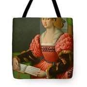 Portrait Of A Woman With A Book Of Music Tote Bag