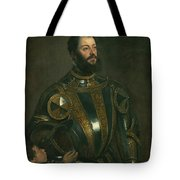 Portrait Of Alfonso D'avalos Marquis Of Vasto In Armor With A Page Tote Bag